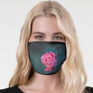 Beautiful Pink Rose on a Dark Green Background. Face Mask