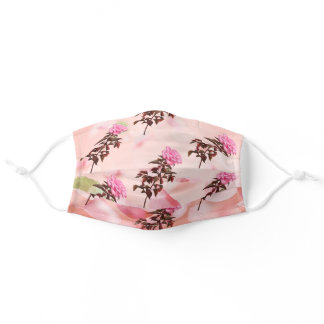 Beautiful pink roses flowers floral pattern adult cloth face mask