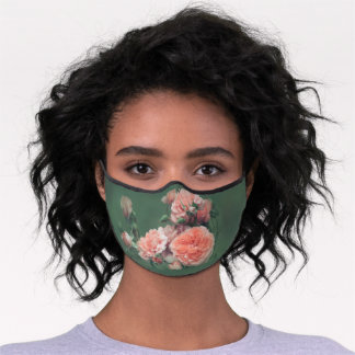 Beautiful Pink Roses on a Natural Green Background Premium Face Mask