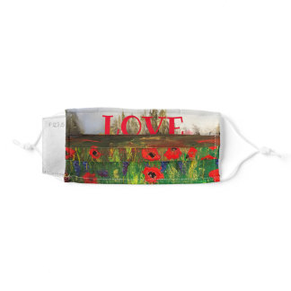 Beautiful Print of Poppy Field, Spread the Love Adult Cloth Face Mask