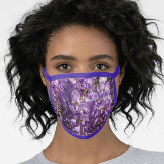 Beautiful Purple Wisteria Flowers, Nature Photo Face Mask