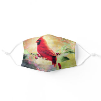 Beautiful Red Cardinal On A Winterberry Branch Adult Cloth Face Mask