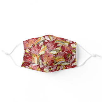 Beautiful Retro Red Pink Orange Green Floral Art Adult Cloth Face Mask