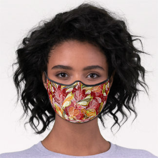 Beautiful Retro Red Pink Orange Green Floral Art Premium Face Mask