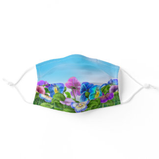 Beautiful Spring Violet Pansy Flowers Garden Adult Cloth Face Mask