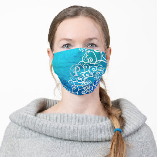 Beautiful Teal Blues with White Swirlies Monogram Adult Cloth Face Mask