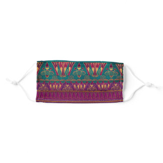 Beautiful teal faux gold purple Egyptian pattern Adult Cloth Face Mask