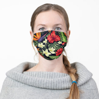 Beautiful Tropical Flowers Hawaiian Adult Cloth Face Mask