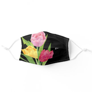Beautiful Tulip Flowers Custom Black Floral Adult Cloth Face Mask