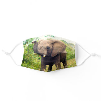 Beautiful Wild Elephant Animal in Jungle Nature Adult Cloth Face Mask