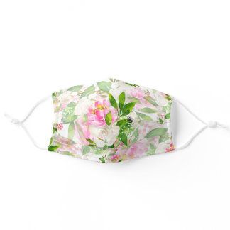 Beautiful wild pink flower summer floral pattern adult cloth face mask