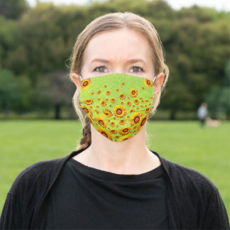 Beautiful yellow flowers on abstract green   adult cloth face mask