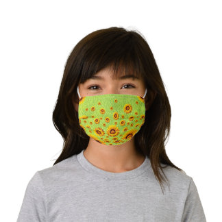 Beautiful yellow flowers on abstract green kids' cloth face mask
