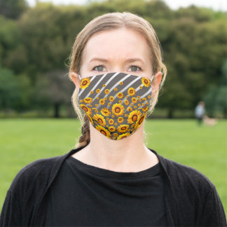 Beautiful yellow flowers on gray, silver stripes adult cloth face mask