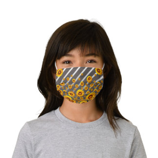 Beautiful yellow flowers on gray, silver stripes  kids' cloth face mask