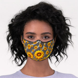 Beautiful yellow flowers on gray, silver stripes  premium face mask
