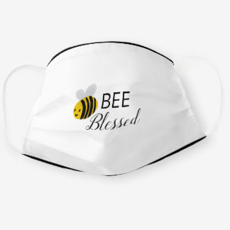 Bee Blessed Bumblebee Yellow Black and White Cloth Face Mask