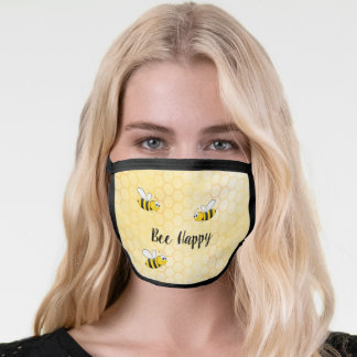 Bee happy bumblebees yellow honeycomb summer face mask