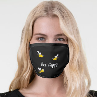 Bee Happy cute smiling bumblebees black Face Mask