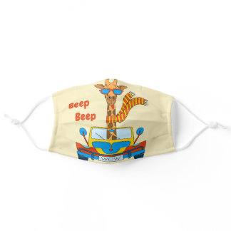 Beep Beep! Cute Giraffe in Car Adult Cloth Face Mask