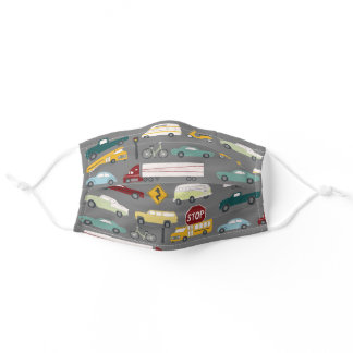 Beep Beep Traffic Pattern Gray Adult Cloth Face Mask