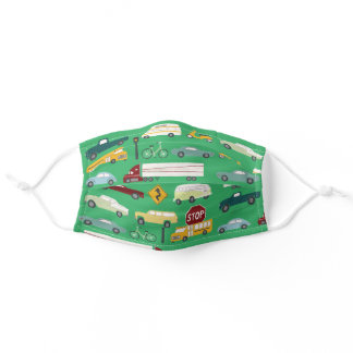 Beep Beep Traffic Pattern Green Adult Cloth Face Mask