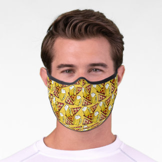 Beer and Pizza Mustard Yellow Premium Face Mask