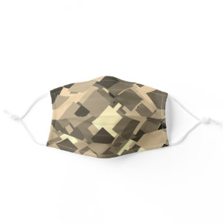 Beige Grey Bold Abstract Geometric Modern Pattern Adult Cloth Face Mask