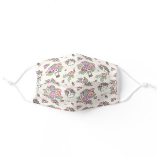 Beige Guinea Pig Peony Floral Pattern Adult Cloth Face Mask