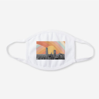 Beijing City Skyscrapers Rainbow Sky White Cotton Face Mask