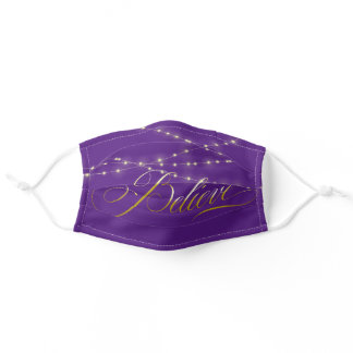 Believe Text on Purple Adult Cloth Face Mask