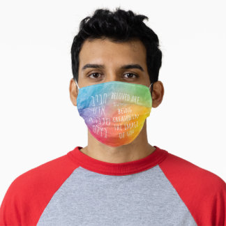 Beloved Are Humans- Hebrew Pirkei Avot Rainbow Adult Cloth Face Mask