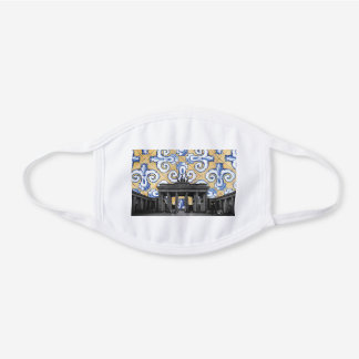 Berlin Meets Azulejo Spanish Tiles Montage White Cotton Face Mask