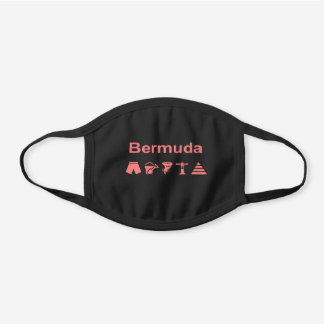 Bermuda Pink Icons Dark Color Black Cotton Face Mask