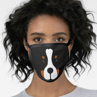 Bernese MT Dog Face Silhouette Face Mask