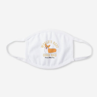 Best Corgi Dad Funny Pembroke Welsh Corgi Cartoon White Cotton Face Mask