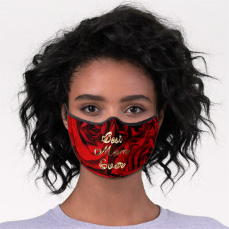 Best Mom Ever Hearts Red Roses Floral Premium Face Mask