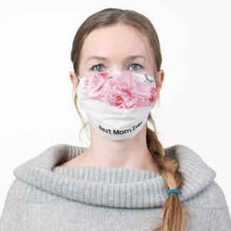 Best Mom Ever with pink carnation flower Adult Cloth Face Mask