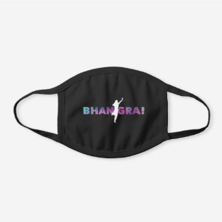 Bhangra Dancing Punjabi Girl Black Cotton Face Mask