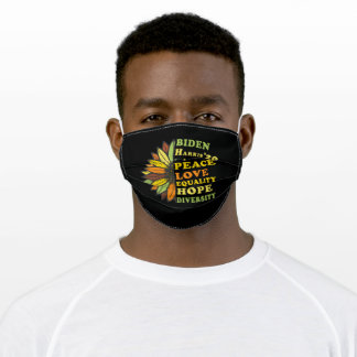Biden Harris 2020 Peace Love Equality Hope Adult Cloth Face Mask