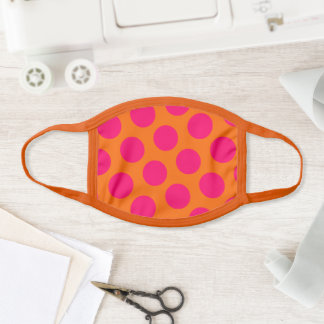 Big Bright Orange and Pink Polka Dots Face Mask