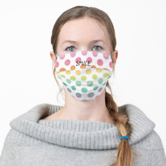 Big Rainbow Polkadots Personalized Name or Saying Adult Cloth Face Mask