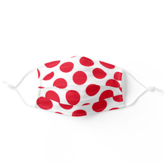 Big Red Polka Dots White Adult Cloth Face Mask