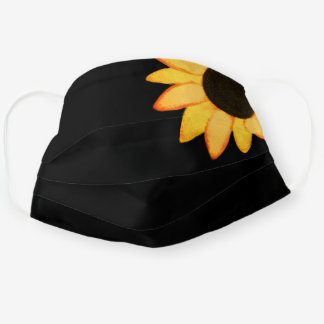 Big Sunflower Country Floral Pattern Yellow Black Cloth Face Mask