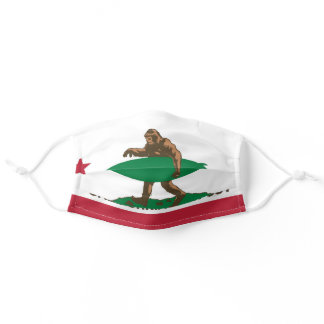 Bigfoot surfer in the flag adult cloth face mask