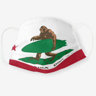Bigfoot surfer in the flag cloth face mask