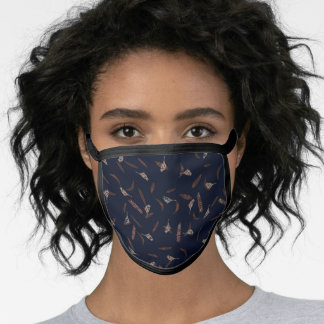 Birds and Leaves Dark Blue Brown Nature Face Mask