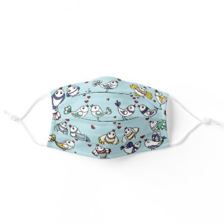 Birds on a Line with Hearts Adult Cloth Face Mask