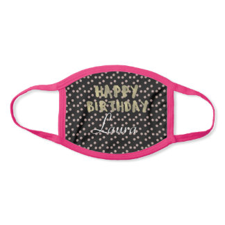 Birthday Gold Letters and Dots Party Face Mask