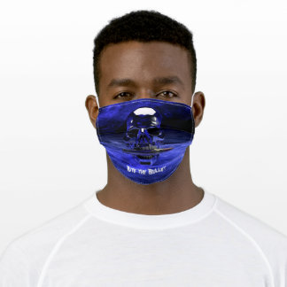 Bite the Bullet Silver Skull on Blue Waves Adult Cloth Face Mask